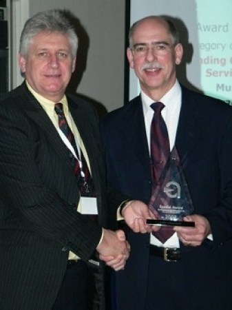 John Churchill receiving the award for Outstanding Contribution to the Service Industry